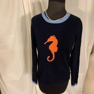 Jones New York cotton knit seahorse sweater. S
